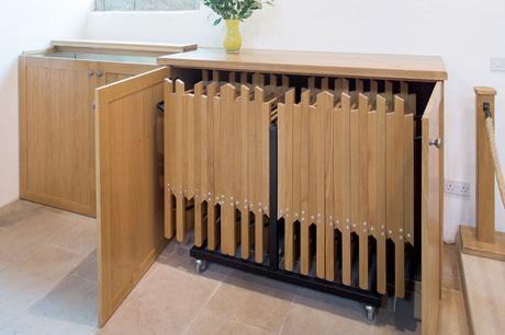 Concealed folding chair storage, St Andrew's, Epworth