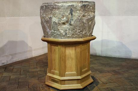 Mobile stand for medieval stone font, All Saints Church, Fulham