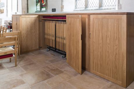 Folding chair storage cupboards, All Saints, Winterton