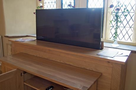 TV cabinet and AV storage cabinet, Knights' Chamber, Peterborough Cathedral