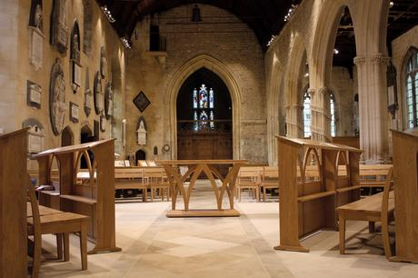 Choir frontals, altar and benches in solid oak, Holy Trinity, Bradford on Avon