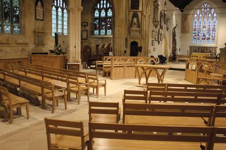 View of nave with solid oak benches, altar and choir frontals, Holy Trinity, Bradford on Avon