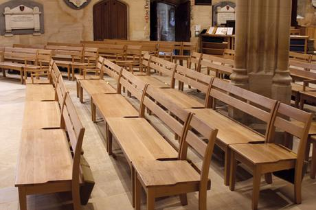 Solid oak three seater benches and St Mary side chairs, Holy Trinity, Bradford on Avon