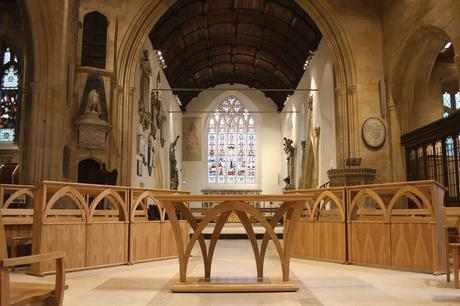 Solid oak bespoke altar and choir frontals, Holy Trinity, Bradford on Avon