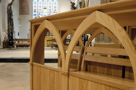 Solid oak bespoke choir frontals, Holy Trinity, Bradford on Avon