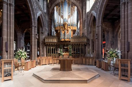 Liturgical furniture in front of organ and quire screen, Manchester Cathedral