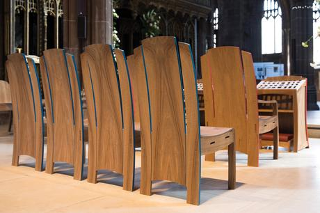 Rear view of clergy chairs with painted exposed edges, Manchester Cathedral