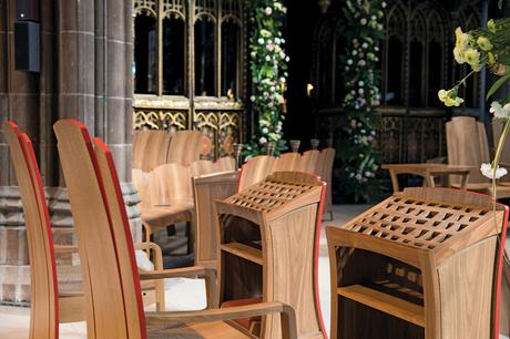 Clergy chairs and readers with exposed edges coloured red to match quire screen, Manchester Cathedral