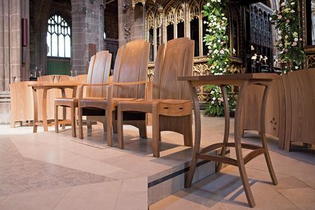 Celebrants chairs and credence tables on rising floor platform, Manchester Cathedral
