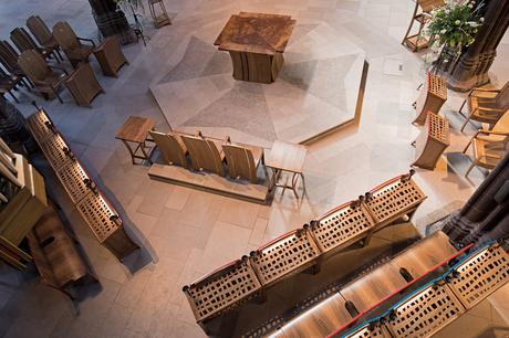Overhead view of liturgical furniture from organ, Manchester Cathedral