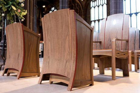 Clergy chairs and readers showing the use of crown cut walnut veneer, Manchester Cathedral