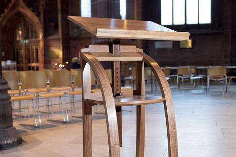 Close up of adjustable height lectern from rear, Manchester Cathedral