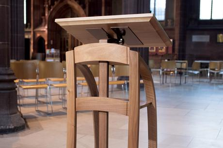 Close up of adjustable height lectern from front, Manchester Cathedral