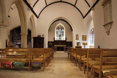 View along the aisle to the altar in St John the Evangelist
