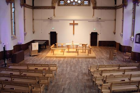 View of sanctuary furniture and seating, Victoria Methodist Church, Bristol