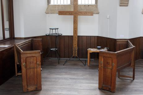 Existing fixed benches reworked to provide freestanding seating at Victoria Methodist Church