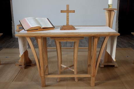 Oak sanctuary table Victoria Methodist Church, Bristol