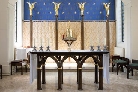 Stained oak altar with octagonal legs, St Joseph's Stokesley
