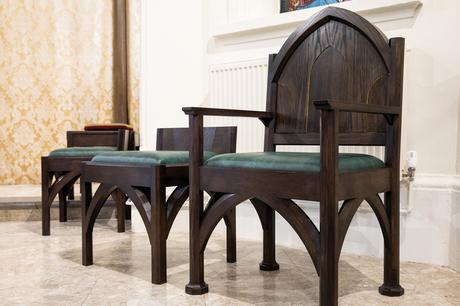 Oak presidential chairs and stacking stools, St Joseph's Stokesley