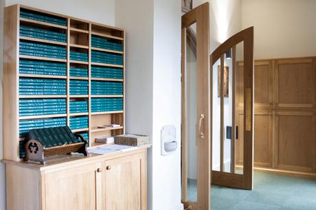 Bible and book storage beside the new interior entrance doors, St Joseph's Stokesley