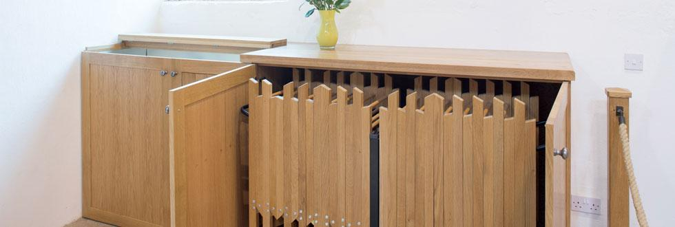Cupboard concealing folding chair storage, St Andrew's, Epworth