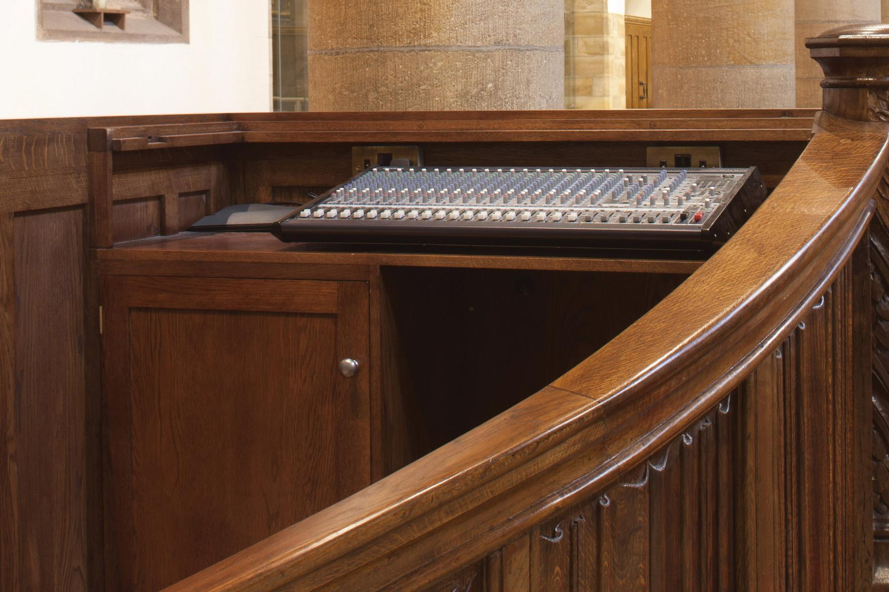 St Chad's Headingley, audio visual desk in converted pulpit