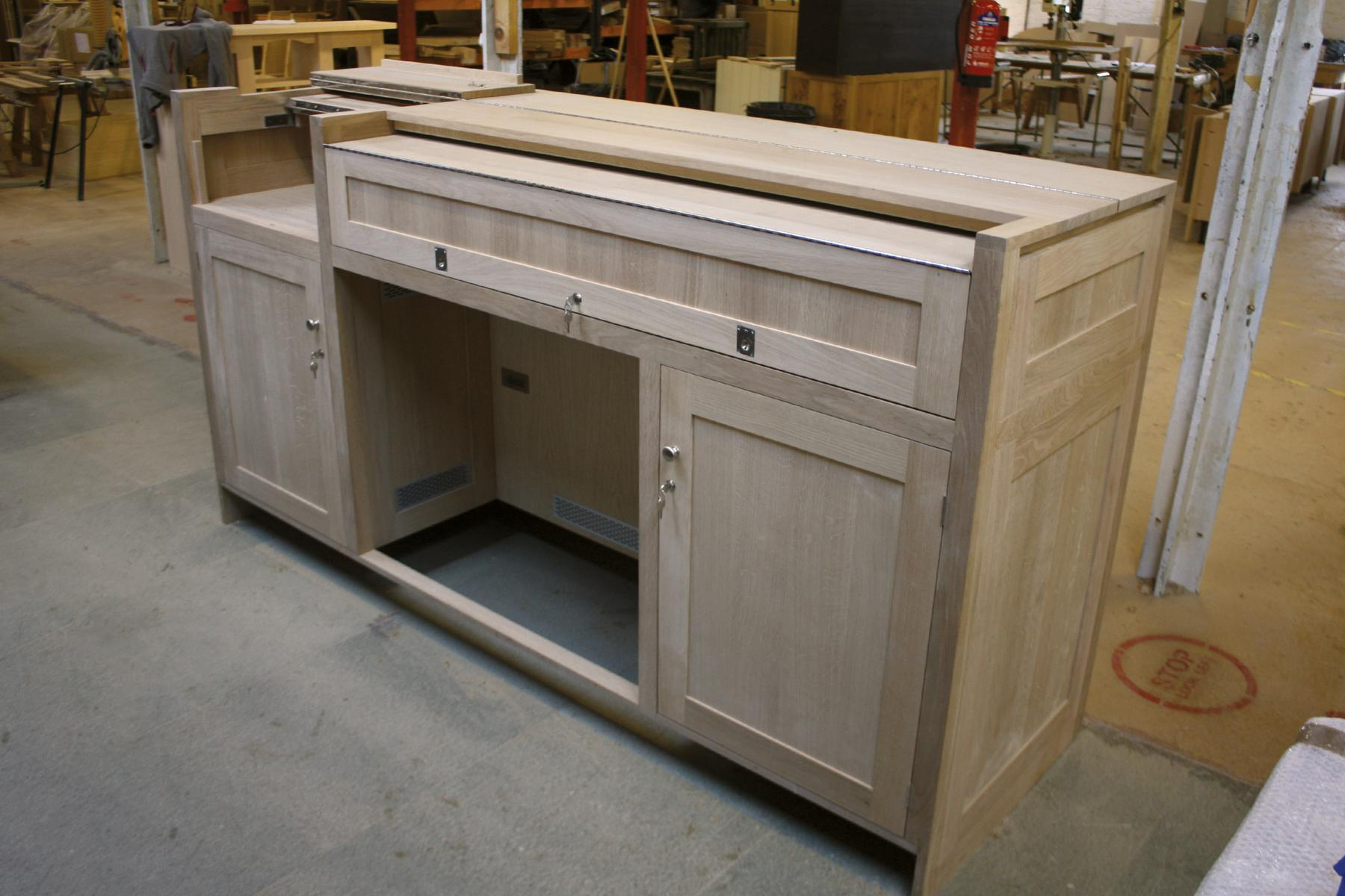 St Mary's Wallingford AV desk in workshop